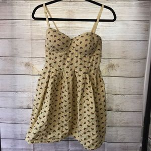 Yellow Bird Dress With Padded Bust